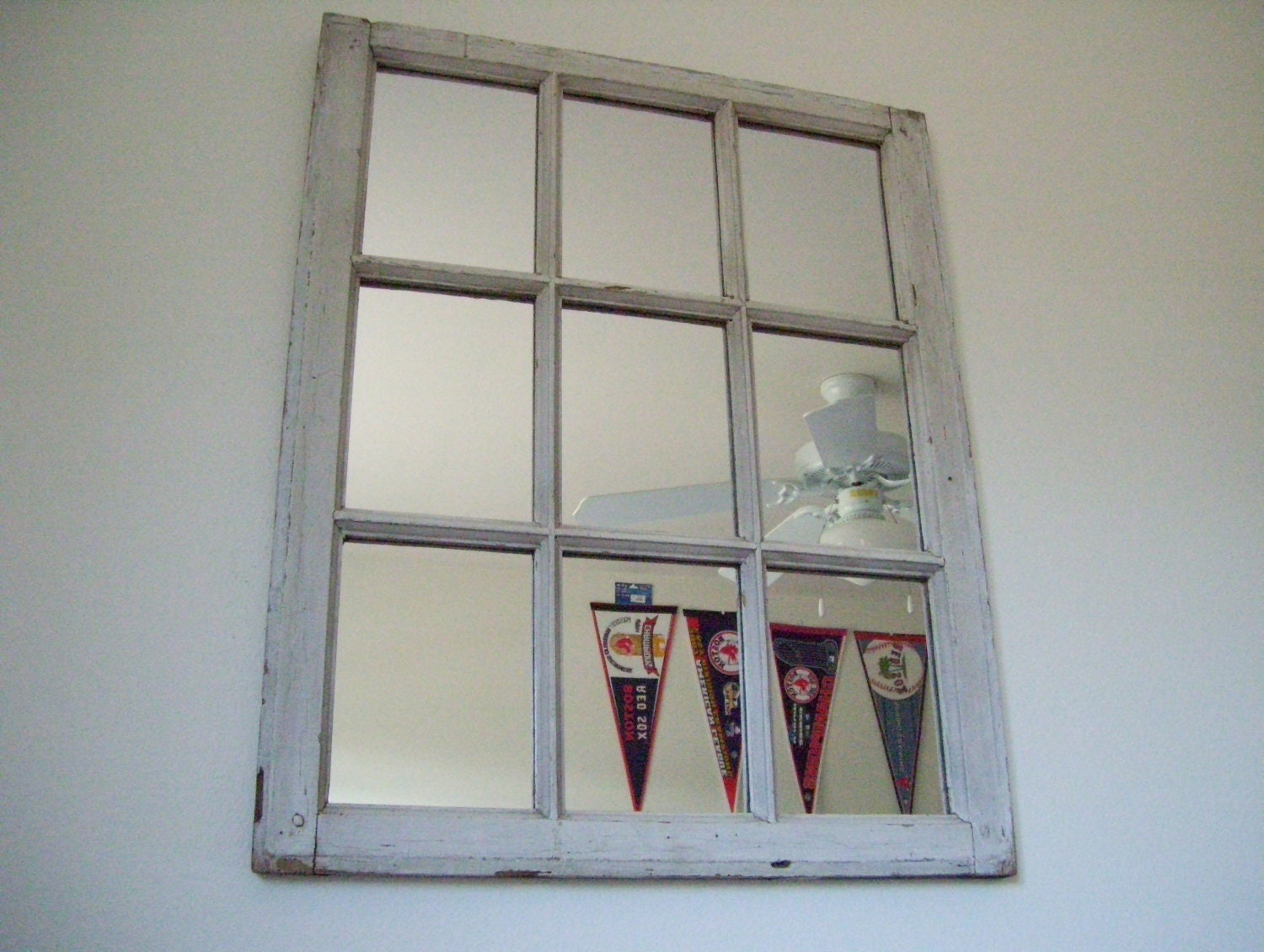 Decorative rustic white 9 pane window frame by for White framed decorative mirror