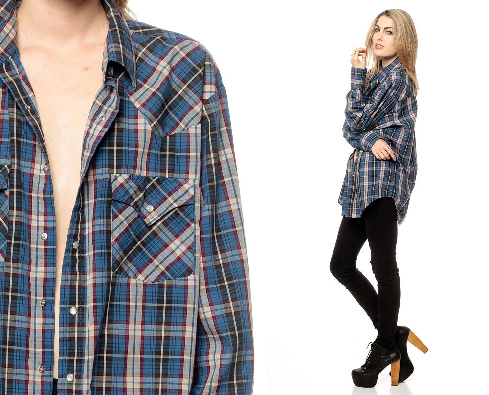 Blue plaid shirt 90s pearl snap western oversized by shopexile for Women s button down shirts extra long