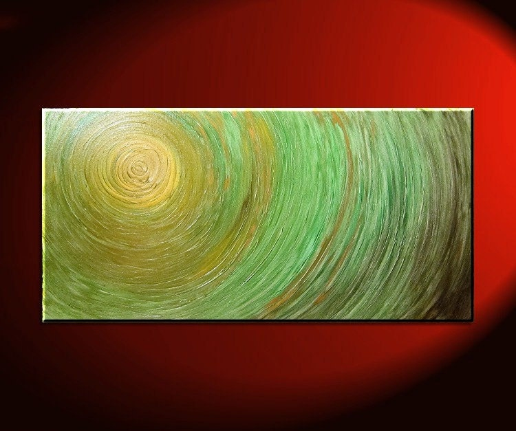 Green Abstract Painting Impasto Textured Modern by NathalieVan