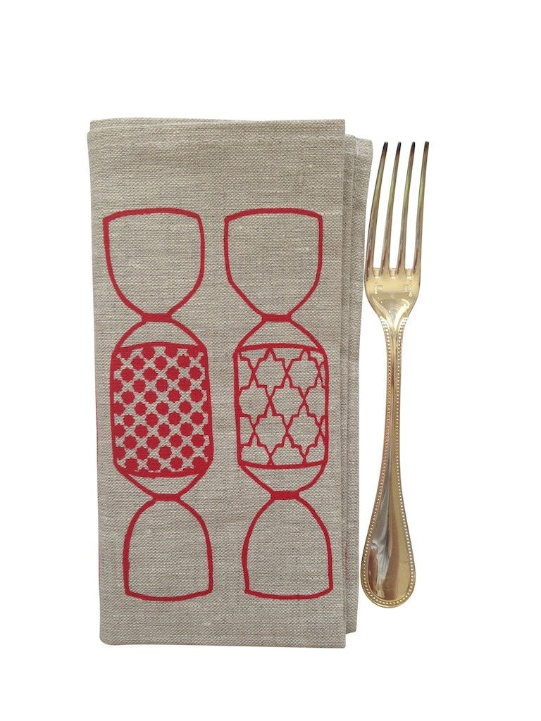 Christmas BonBon napkins. Red BonBons on natural linen x2 - AquaDoorDesigns