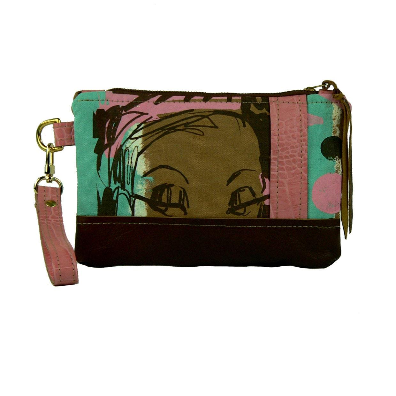 50% OFF SALE  OOAK Pink Chocolate Eyes silkscreen leather wristlet clutch