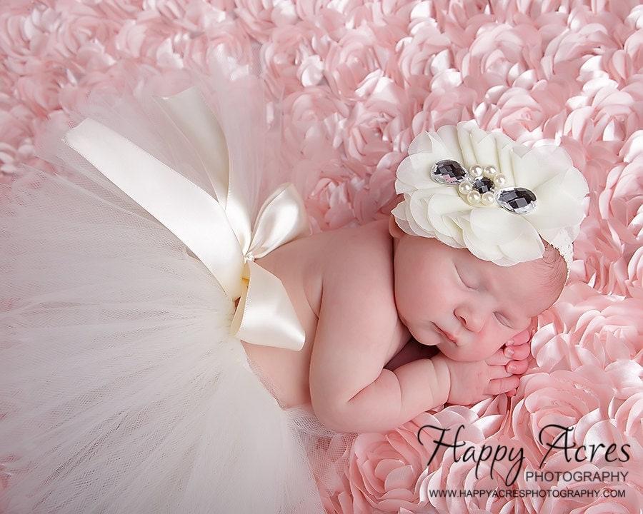 newborn tiara baby headband newborn by alliballiboutique newborn ivory tutu with vintage headband by alliballiboutique
