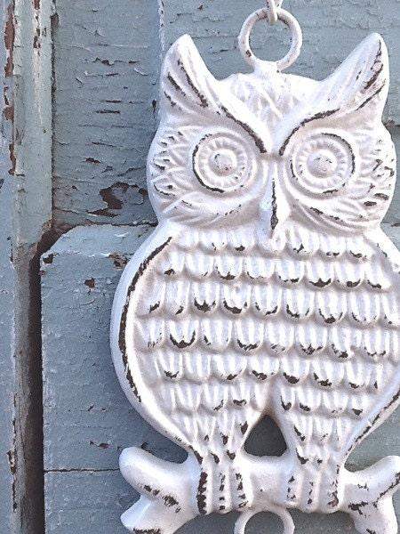 Items Similar To Owl Home Decor Garden Bell Creamy