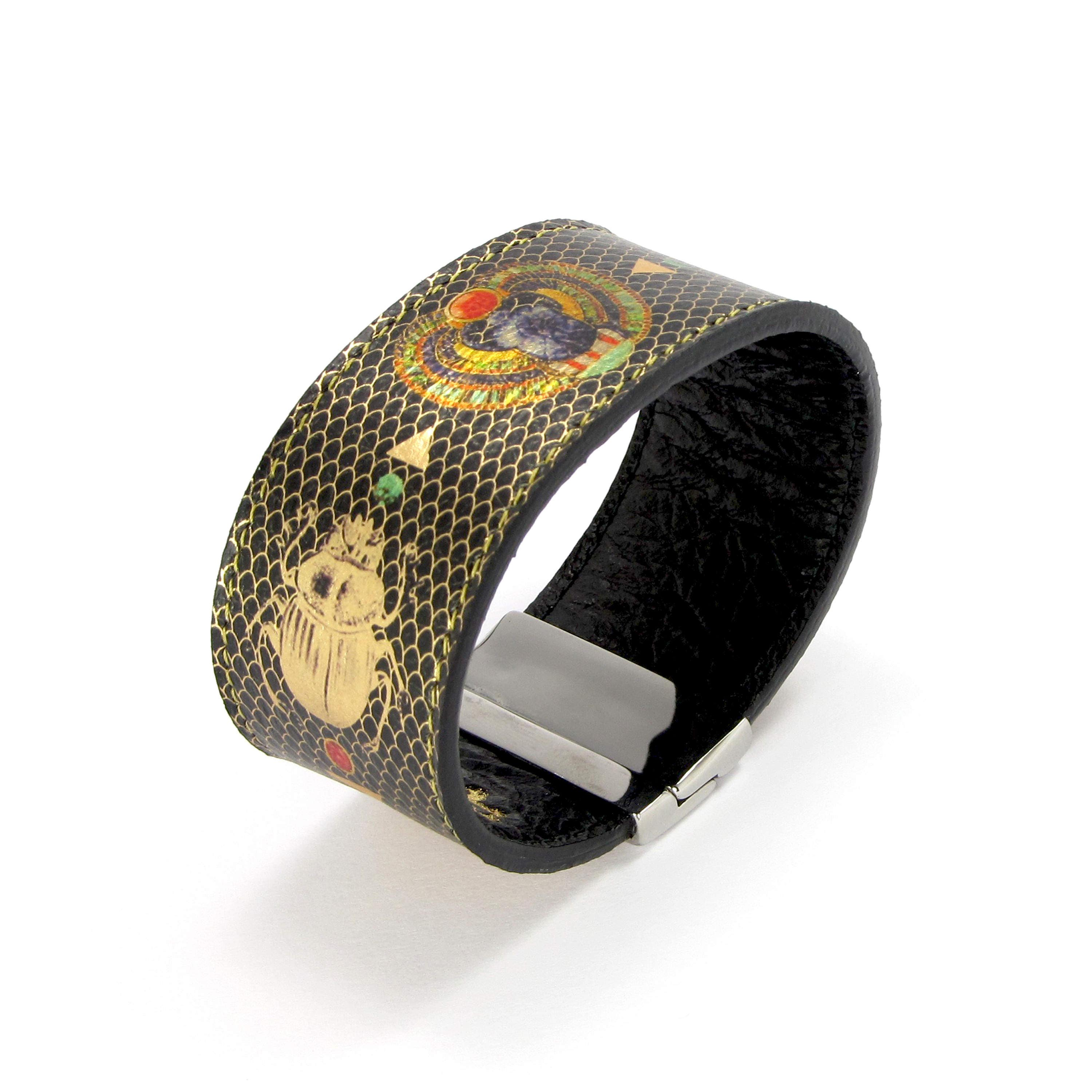 Leather Bracelet also with contactless payment chip  Sacred Scarab