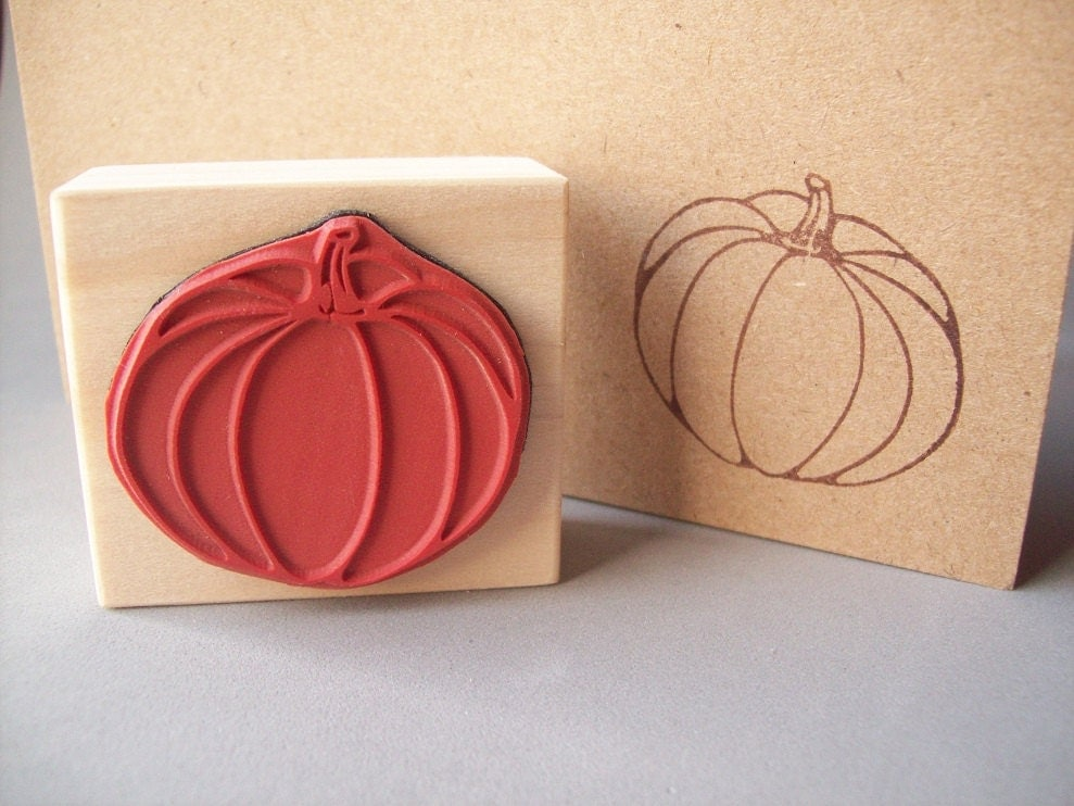 Pumpkin Rubber Stamp Halloween Autumn Fall Thanksgiving