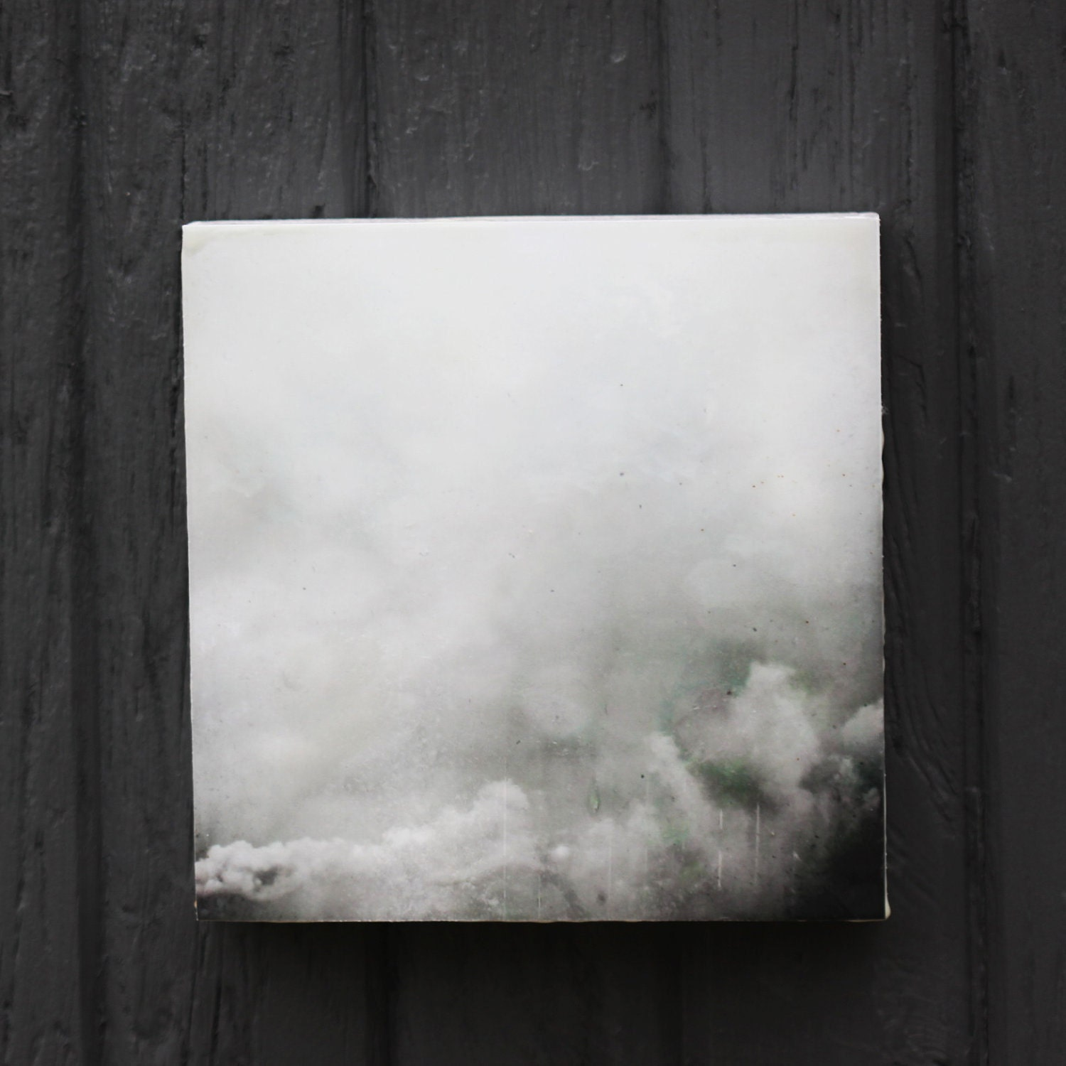 "Clouds, Sky,Photography, Art, Limited Edition Encaustic Photograph Mounted on Panel, 6"" - underabluesky"