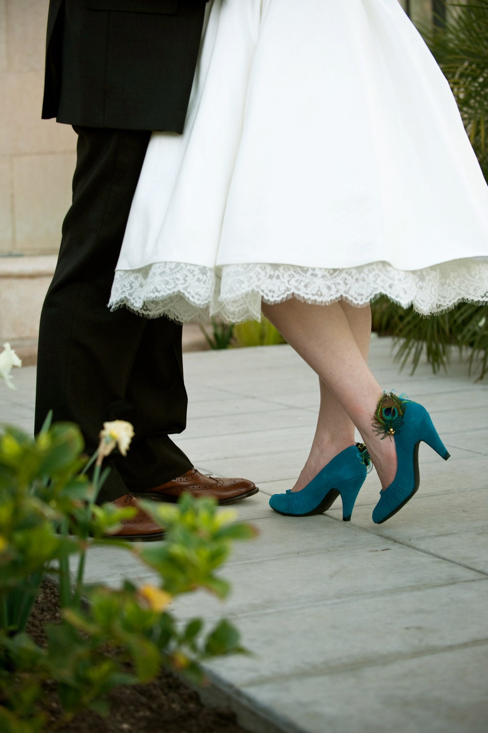 FAELYNN -- Peacock Feather Shoe Clips with Teal and Lime Accenting Feathers Perfect for a Brides Something Blue on Her Wedding Day - KirahleyKreations