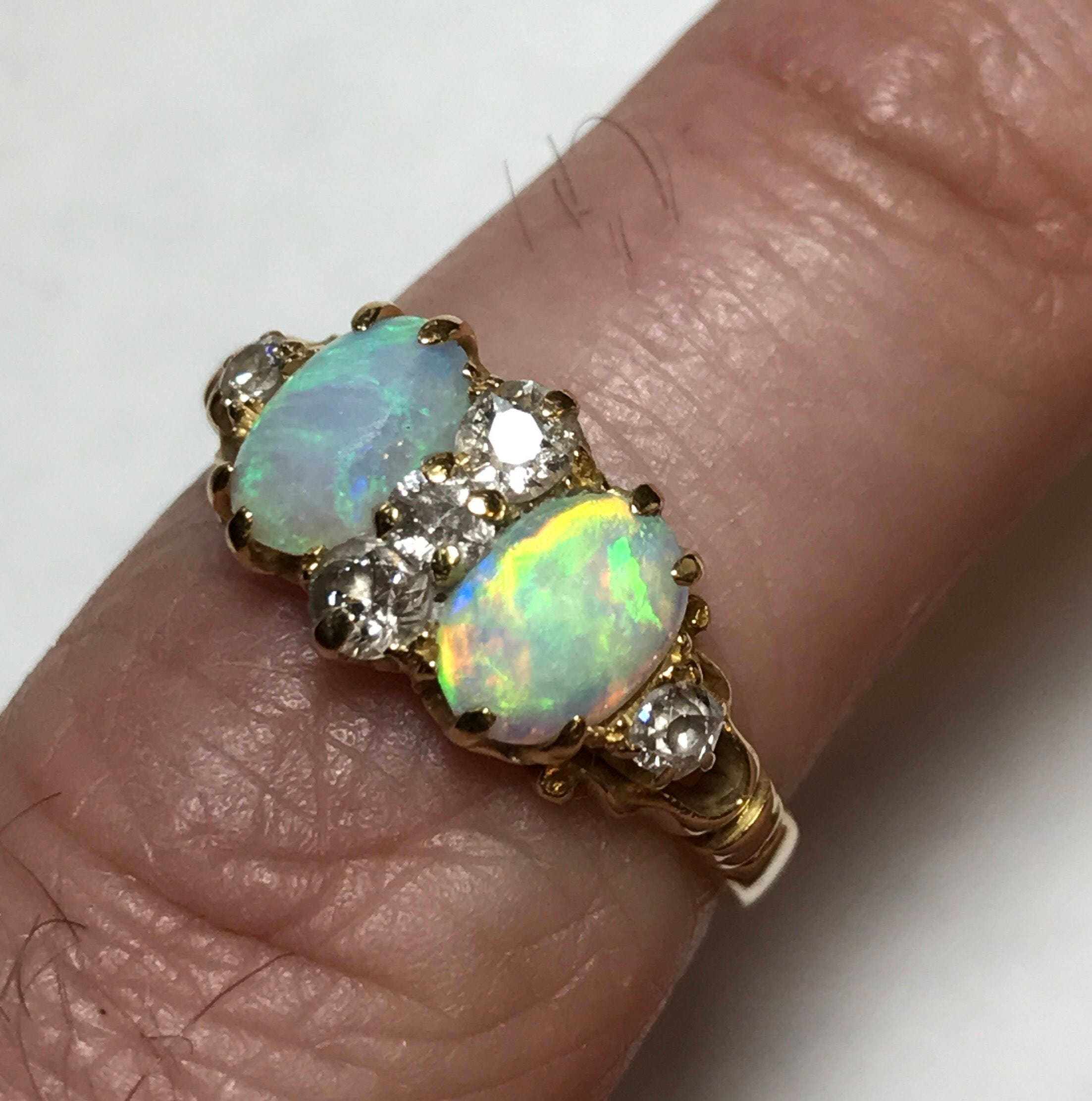 Antique solid opal diamond ring in 18 k carat gold