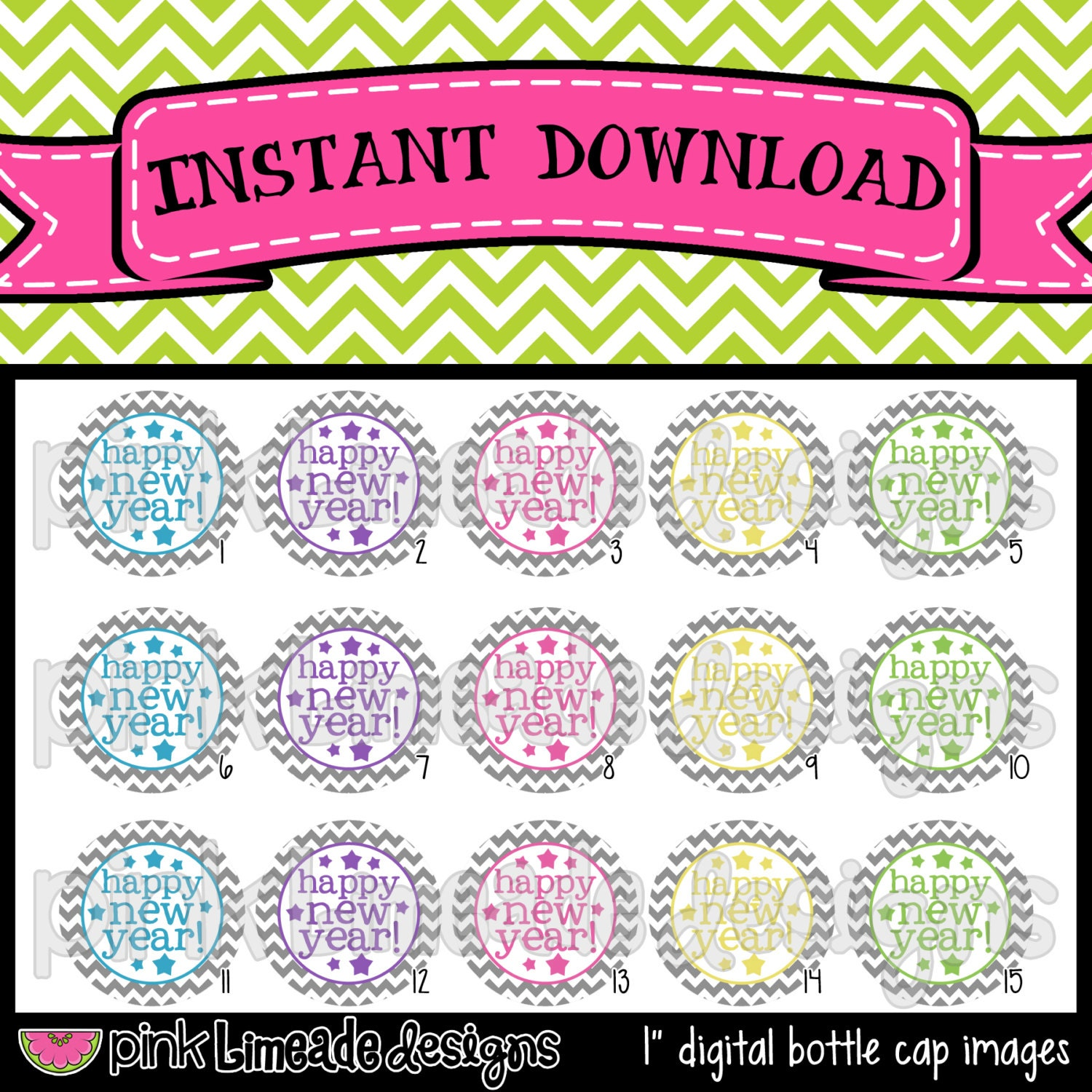 Happy New Year - simple colorful sayings with gray chevron - INSTANT ...