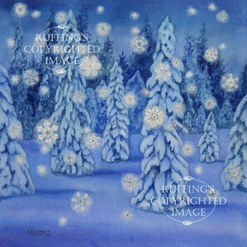Snowy Night Giclee Fine Art Print, Blue Snow Scene with Snowflakes, Signed Elizabeth Ruffing, on 8.5 x 11 inch art paper - ruffings