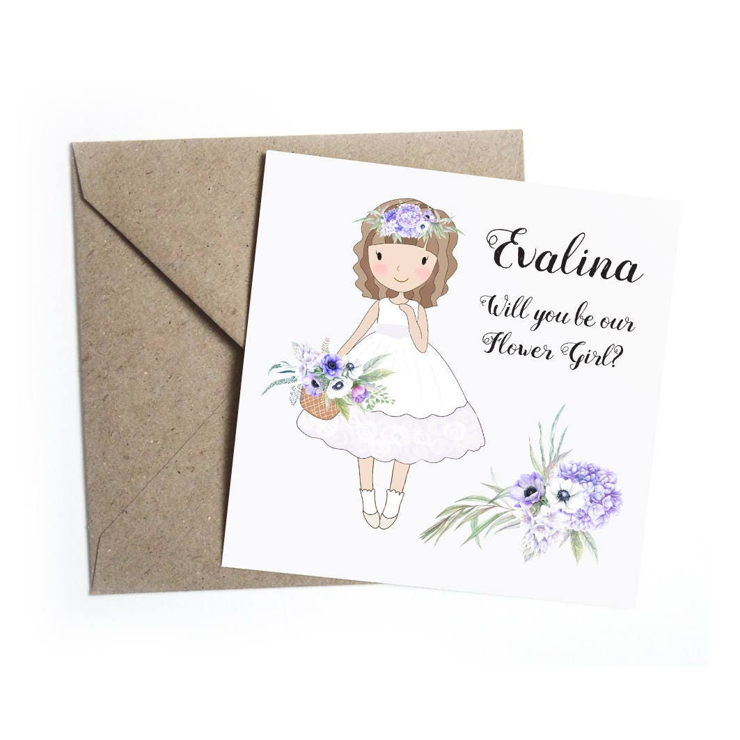 Will You Be My Flower Girl Card  Personalised Floral Anemone Wedding