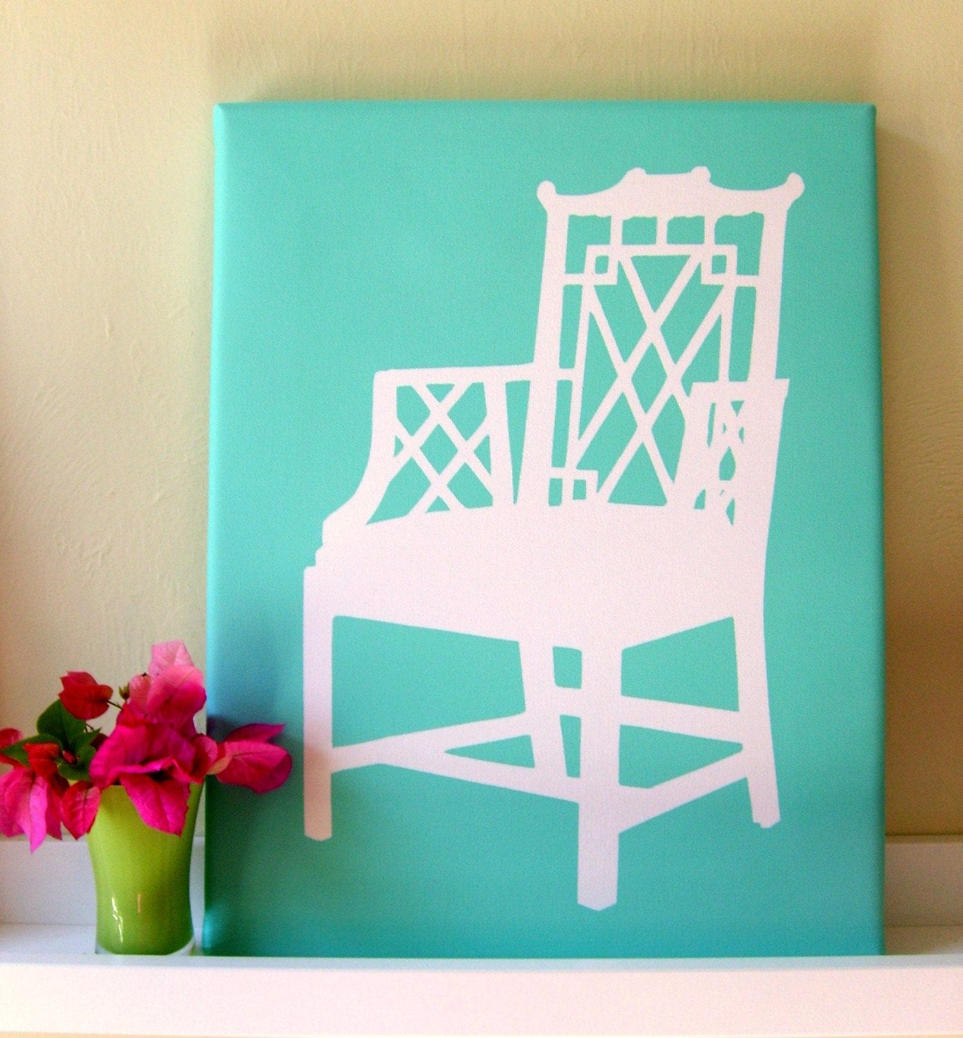 LATTICE CHAIR Silhouette on Canvas 11x14
