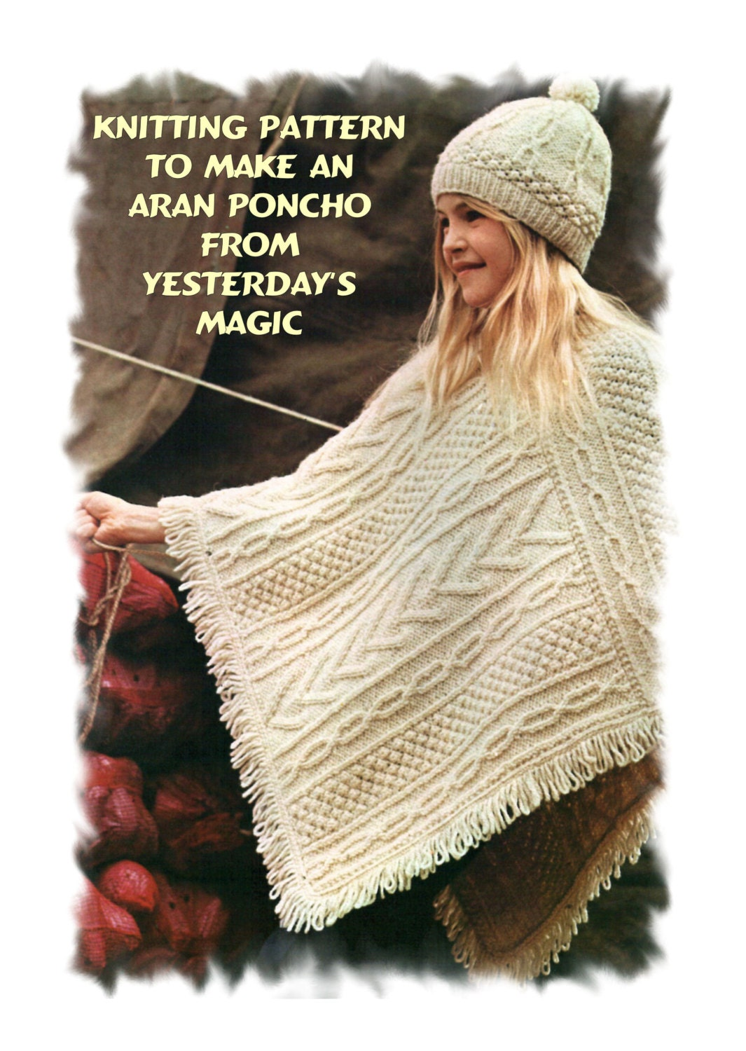 Knitting Pattern Aran Cape : Instant Download PDF Vintage 1970s Knitting by YesterdaysMagic