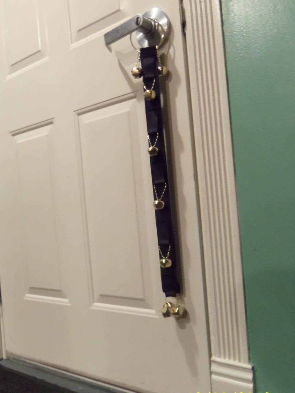 Dog Potty Training Bell In Black Puppy Door By Myrecycledwardrobe