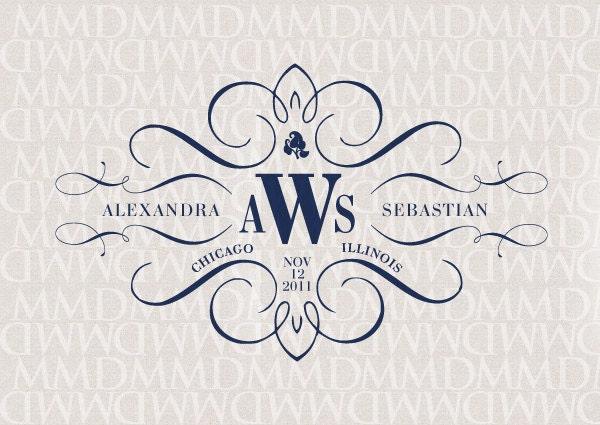 Elegance calligraphy custom wedding monogram by