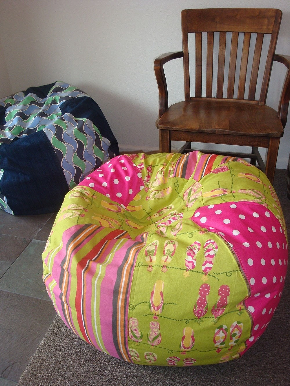 Flip Flop and Stripes Bean Bag Chair pink and green by Paniolo