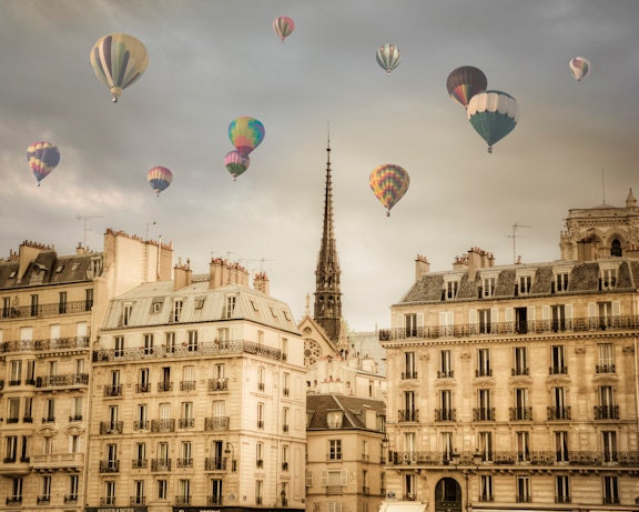 Balloons over Paris Photo, Hot Air Balloon Photograph, Paris Print, Notre Dame Photo, Dreamy, Whimsical, Wall Art, Home Decor, par22b - DeepLightPhotography