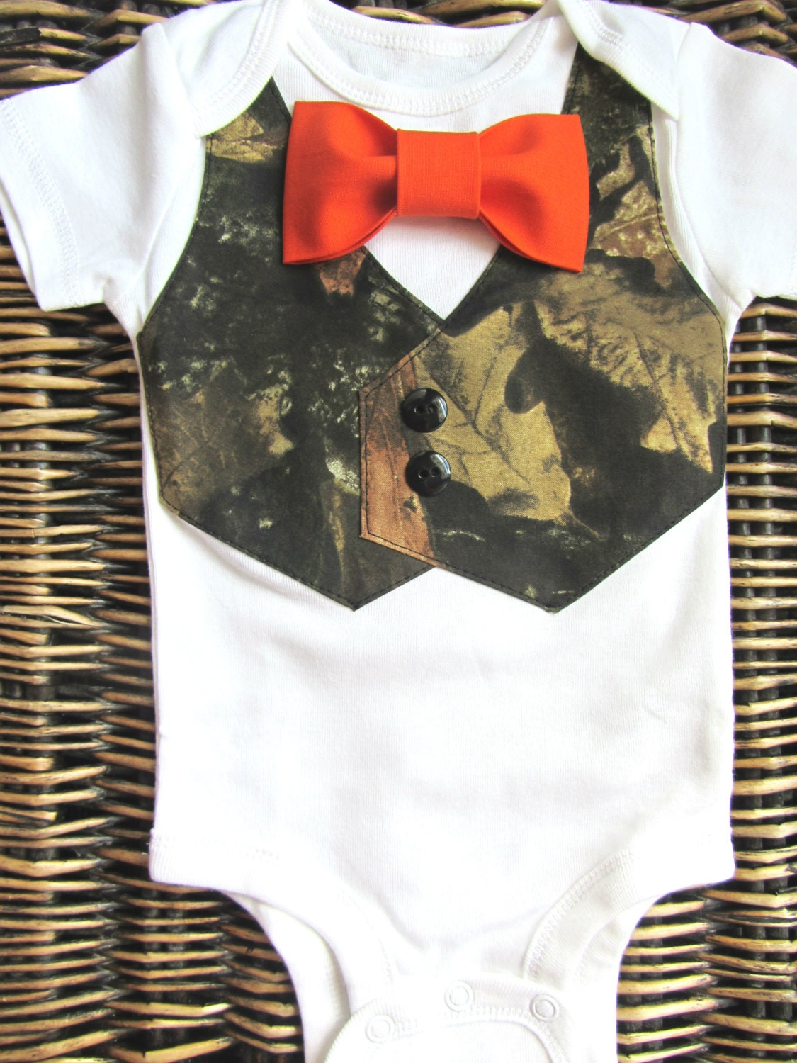 baby boy clothes baby camouflage orange bow tie by