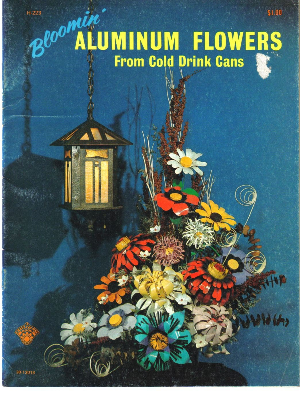 Aluminum can flowers 70 39 s vintage recycling craft by for Aluminum can crafts patterns