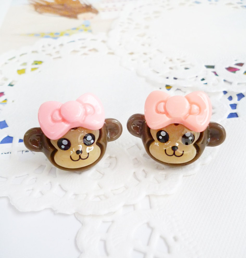 Clay Earrings - Smiling Little Monkeys with Light Pink Bows - LAST PAIR -