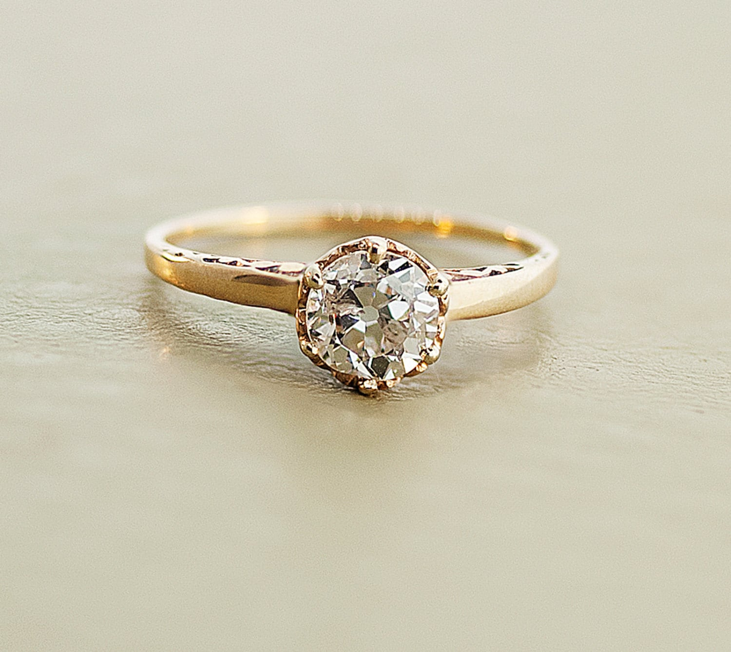 Antique Engagement Ring Rose Gold and Diamond by SITFineJewelry