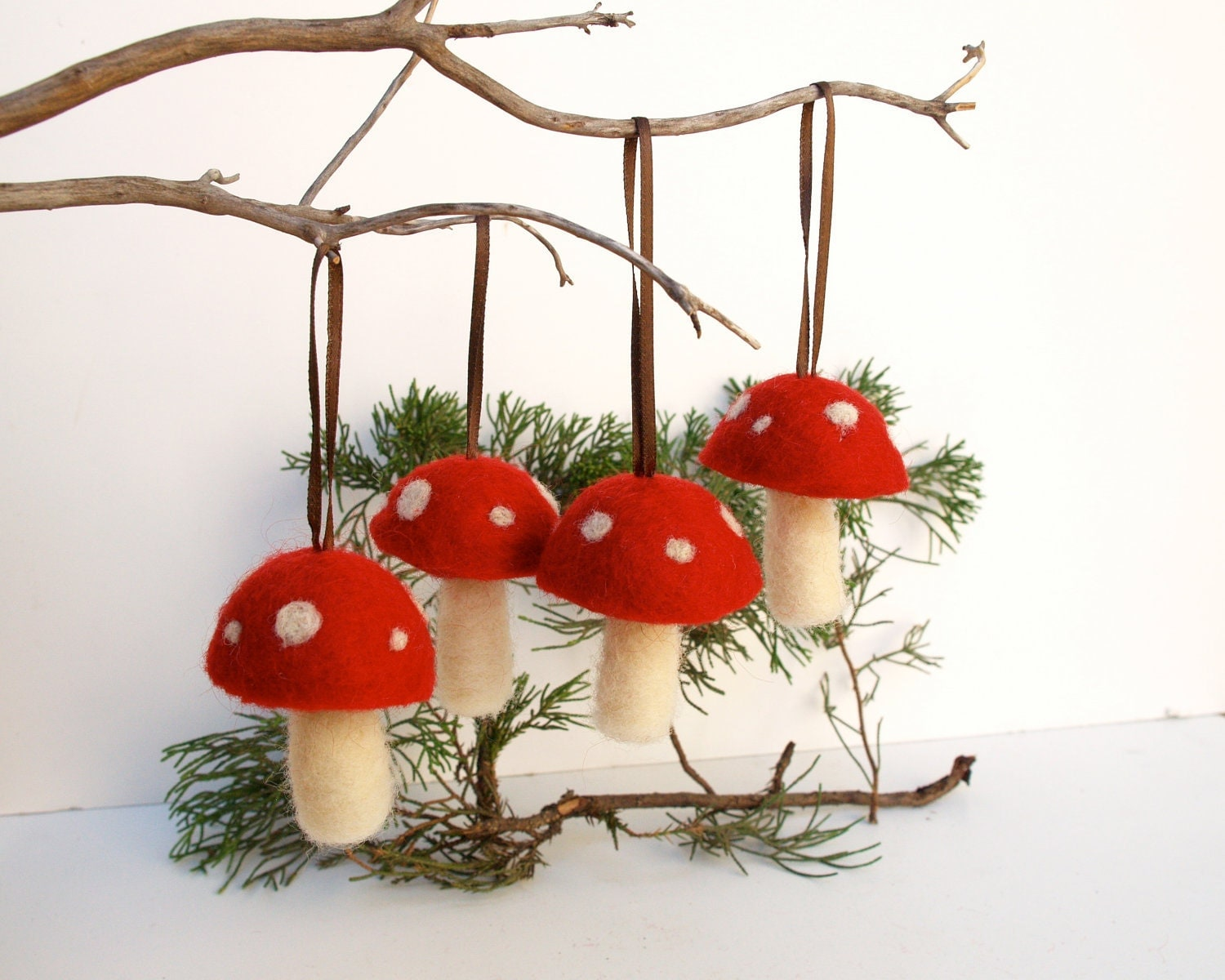 Waldorf ornaments red toadstool mushroom decoration by fairyfolk - Hanging christmas ornaments ...