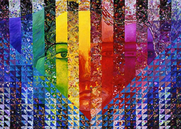 Mixed Media: Conundrum I-Rainbow Woman- Fine Art Card - indiExhibit