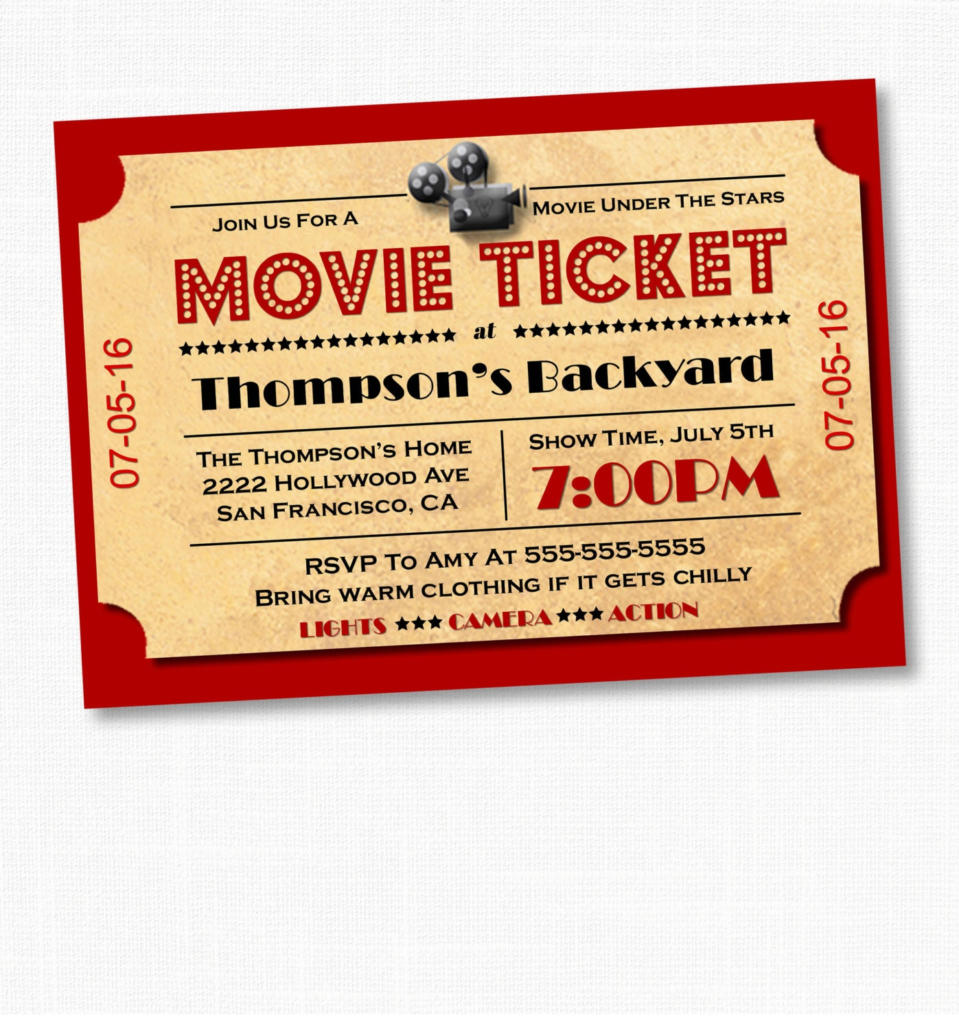 Movie ticket invitations template