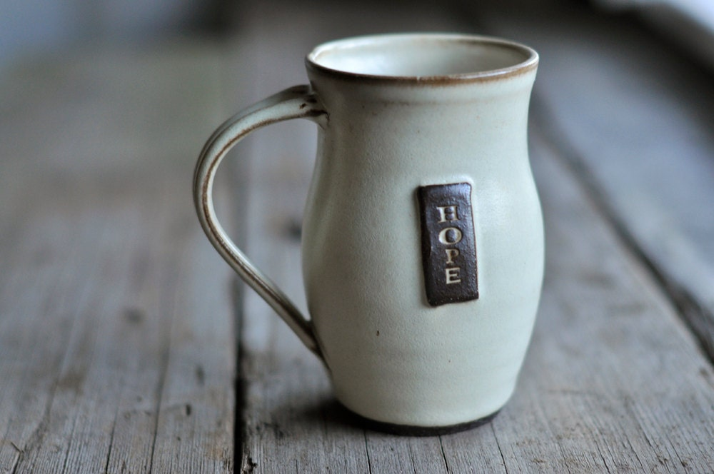 Cream Hope Coffee Mug - Wheelthrown - JustWork