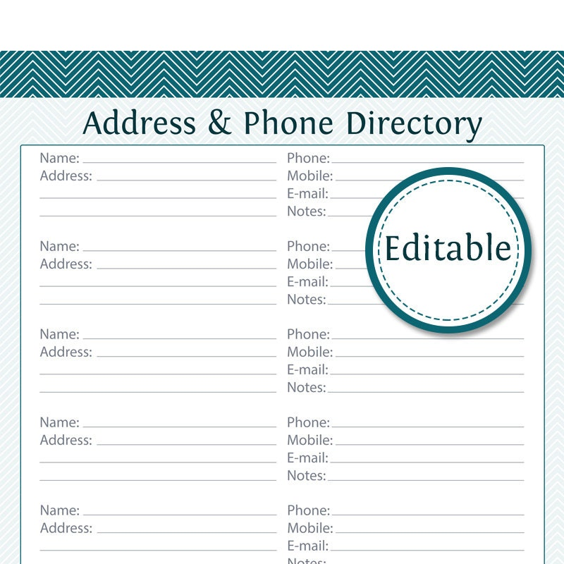 Address book template fillable bing images for Electronic address book template