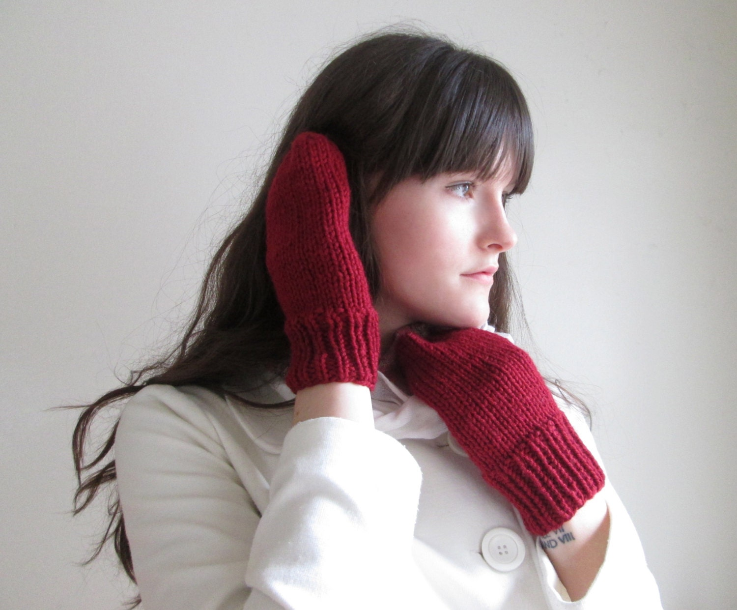 Red Knitted Mittens Cranberry Winter Autumn Gloves Holiday Blood Red, Thick Warm Gloves Mitts - KnittingWonders