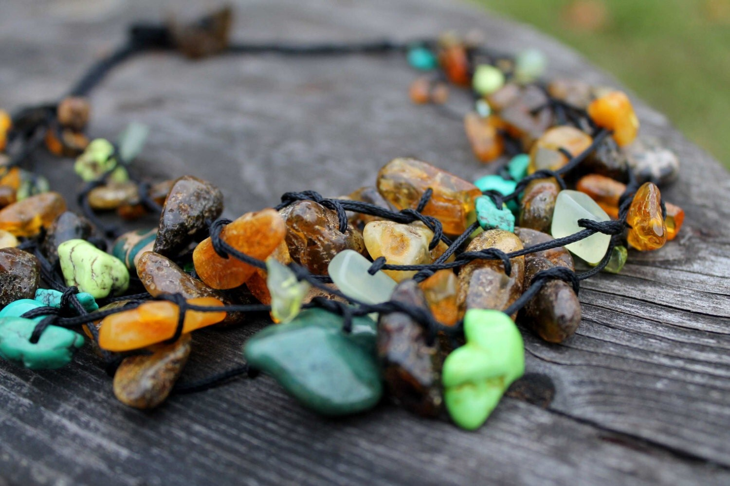 Raw Stone Necklace Multistrand Birthstone Jewelry Green Teal Honey Black Natural Rough Baltic Amber Turquoise Apatite Amazonite Fall Fashion - DreamsFactory
