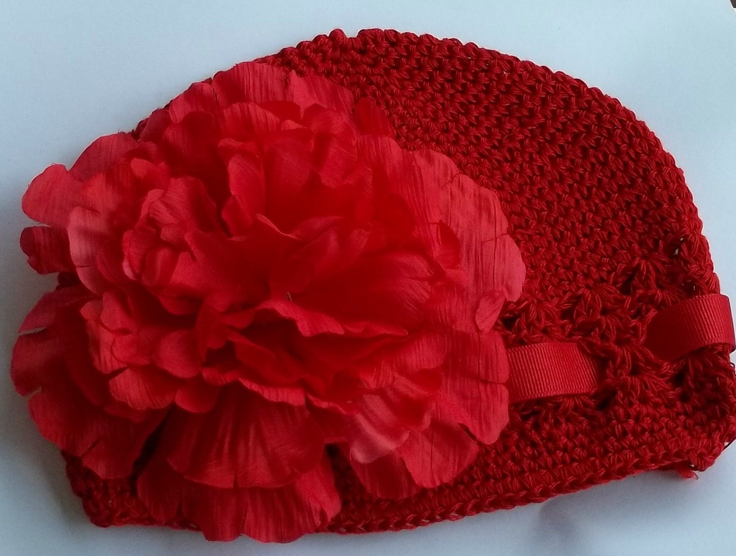 RED crochet kufi hat and Peony flower clip