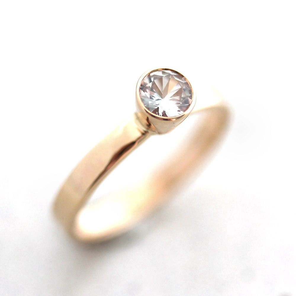 White Sapphire Engagement Ring Recycled 14k Yellow by TheSlyFox