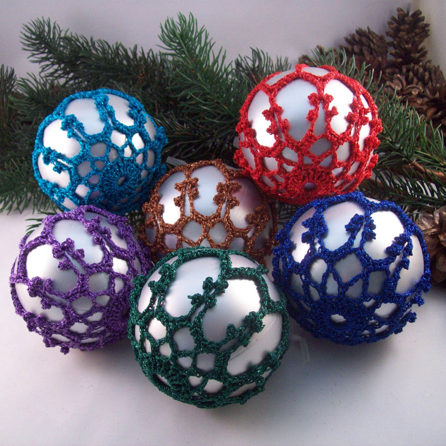 Silver Christmas baubles with bold colours Tree decorations Christmas decorations Christmas ornaments Holiday decorations Crochet lace