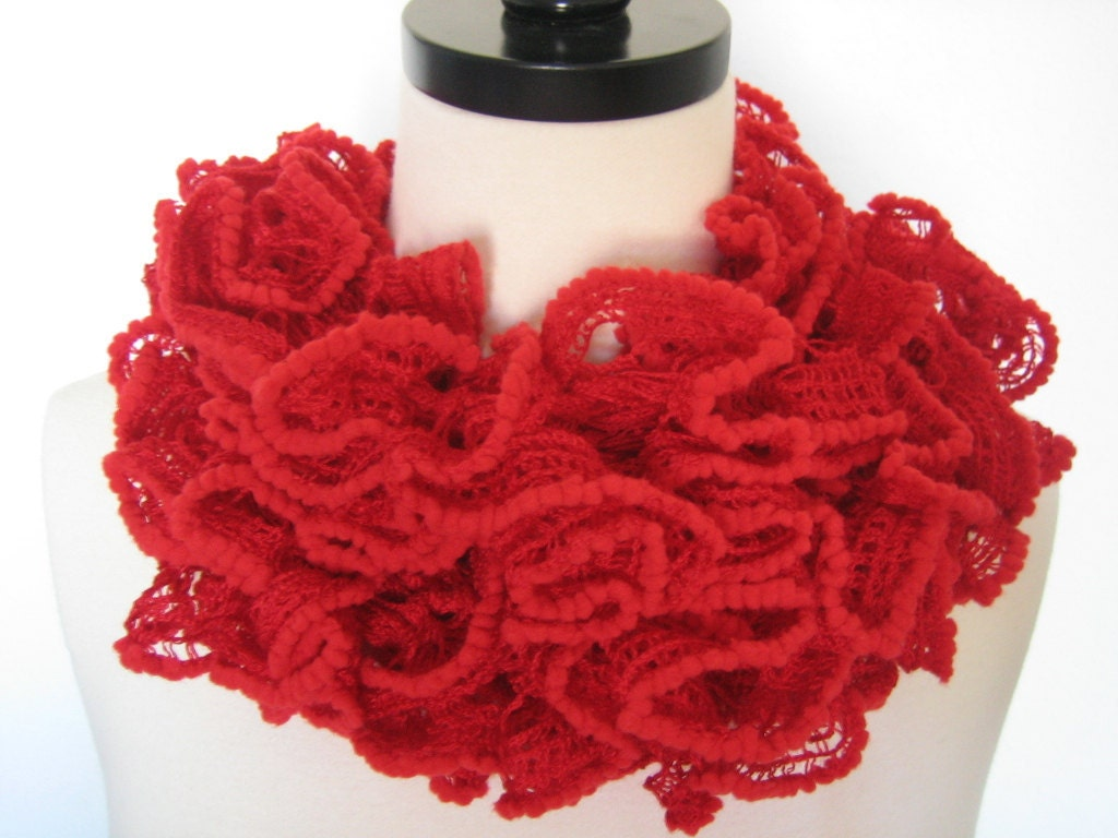 Hand knitted red, valentine,ruffle scarf,  very soft scarf, new, ready to ship