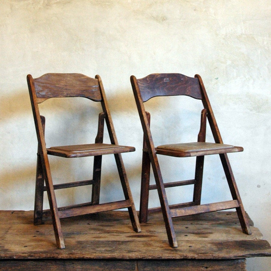 Fold Up Mid Century Wood Folding Chairs by 86home on Etsy