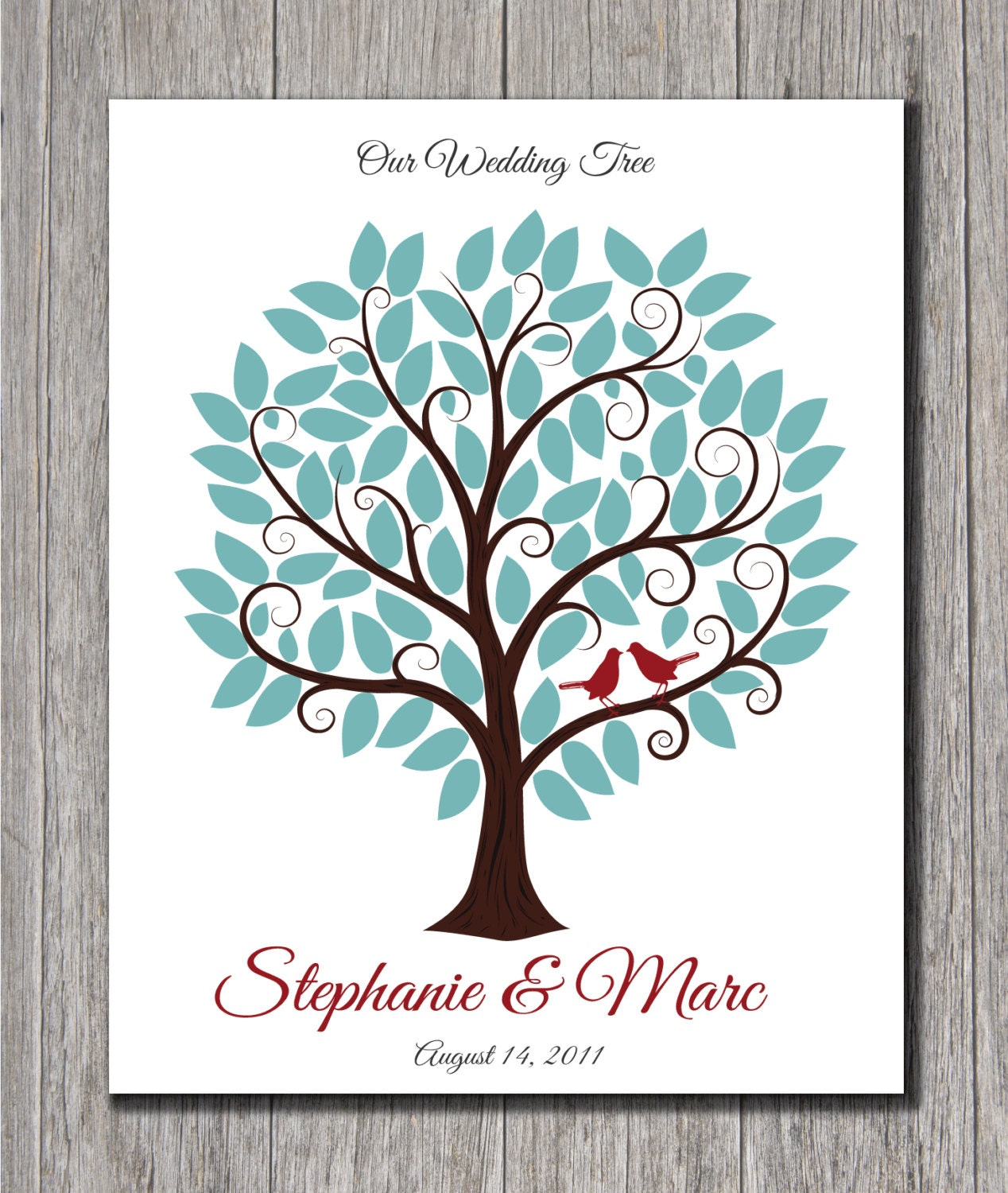 Wedding Guest Signing Tree: Wedding Guest Tree With Signature Leaves By MadeForKeepsShop
