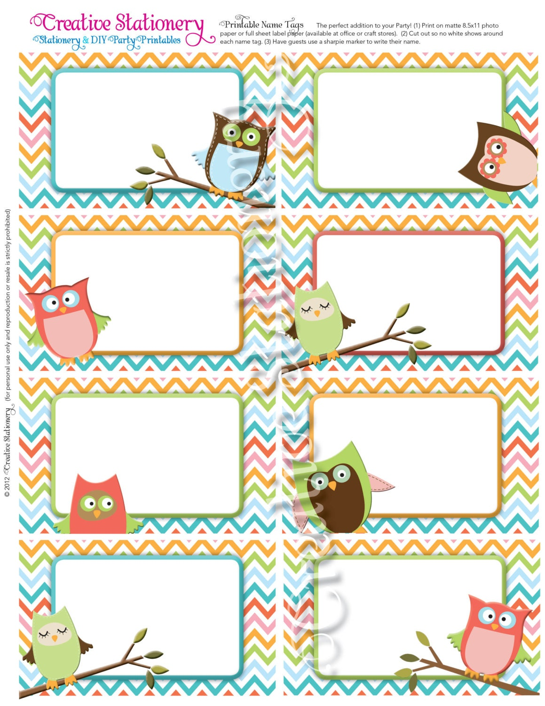 Owl Baby Shower Name Tags. Orange, Green, Pink, Blue and Aqua Chevron ...