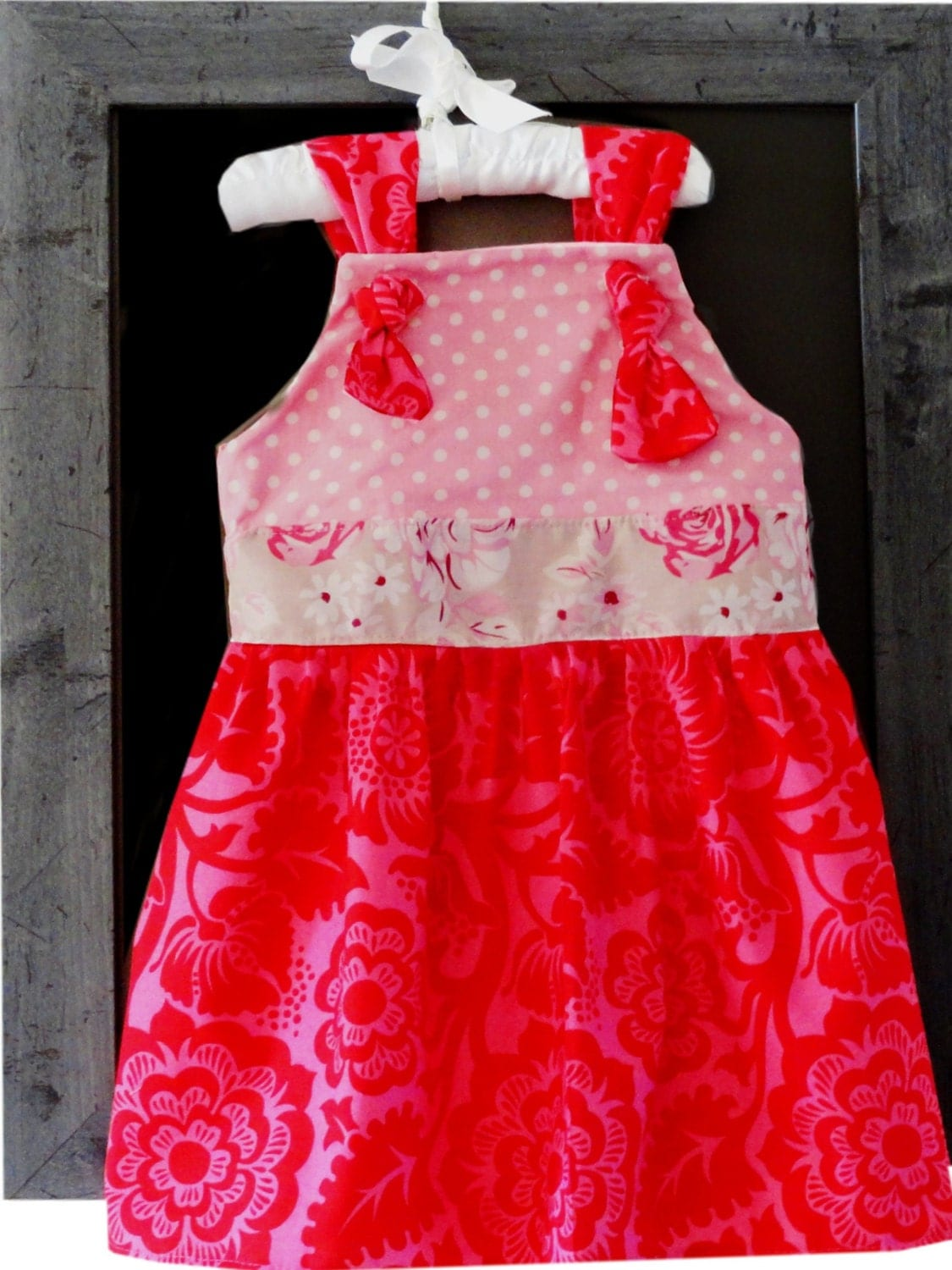 Girls Knot Dress Shabby Chic Valentine Ready to ship 2 - Amievoltaire