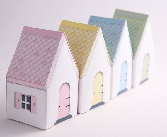 CANDY COTTAGES -  Printable DIY Gift Box Houses, Party Favors, Fairy House, Pastels - Pink, Blue, Green, Yellow, Instant Download - EmilyHingston