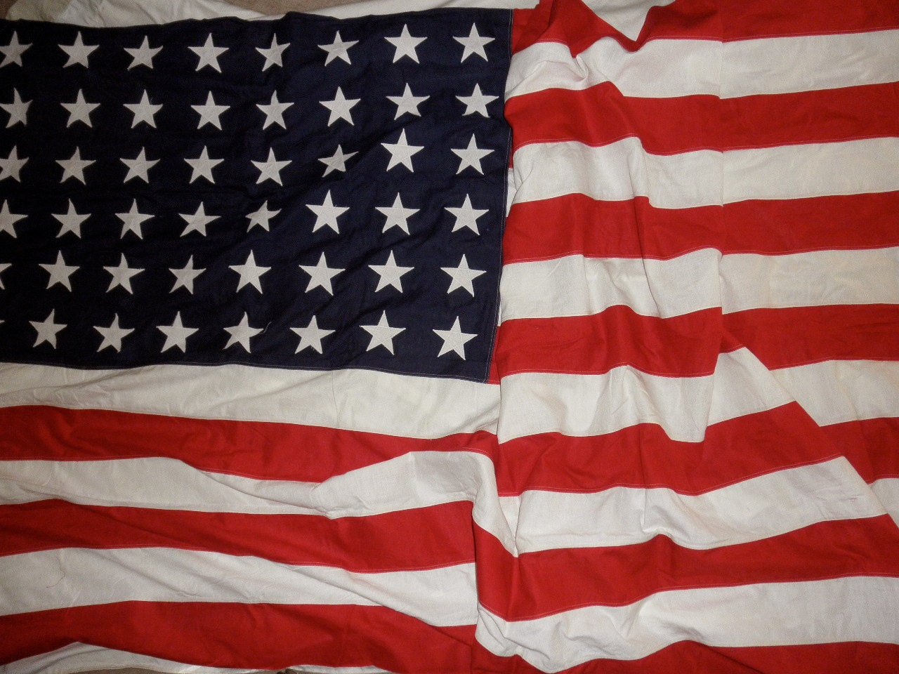 antique 48 star extra large 5' x 9.5' American flag-cotton,Fourth of July, Memorial Day - TrunkGypsies