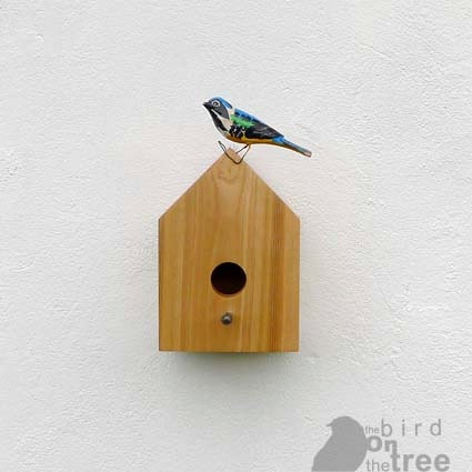 Wooden birdhouse with antique nail, natural minimalist design, unique eco friendly present for your garden - TheBirdOnTheTree