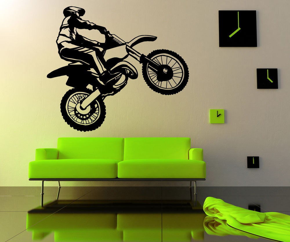 Items similar to vinyl wall decal sticker dirt bike for Dirt bike wall mural