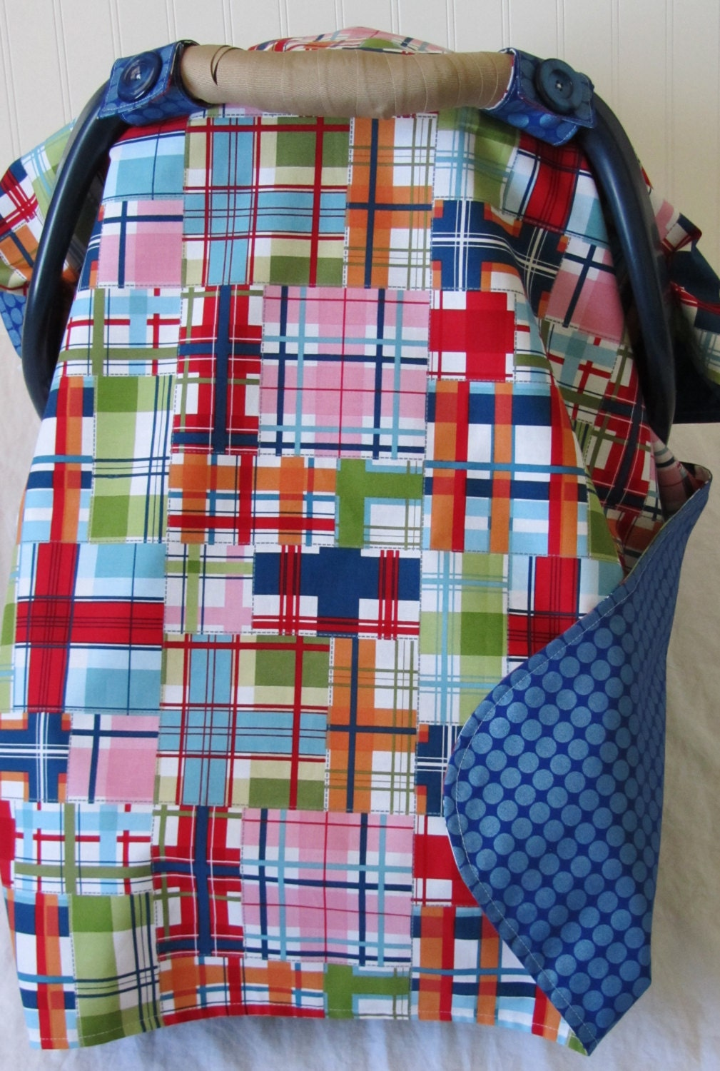 Baby car seat cover canopy for boy in blue red by chicmamacovers