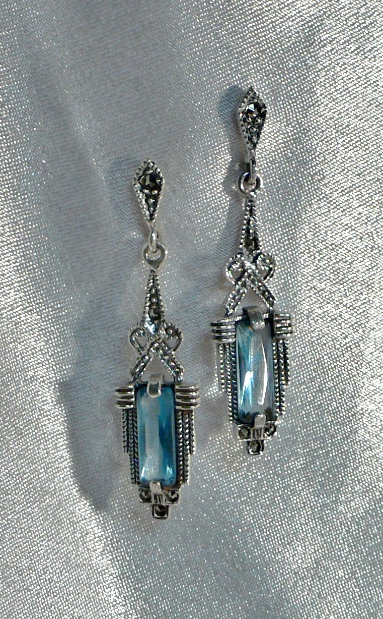 Vintage Earrings Art Deco Marcasite Sterling Silver 925 Earrings With Swiss Blue Topaz  Gemstone