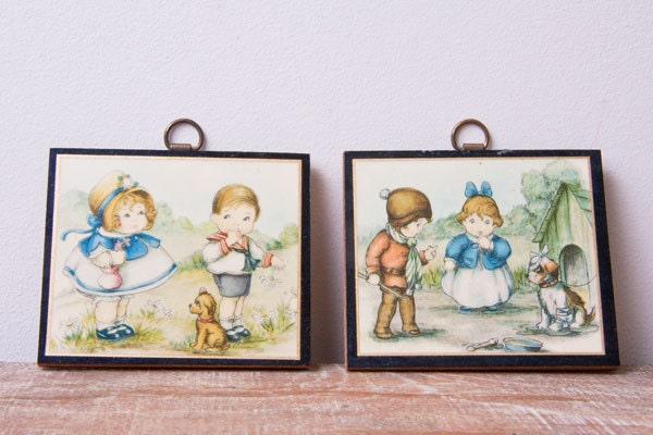 Vintage Wall Decor Nursery : Vintage nursery decor miniature wall art hangings by