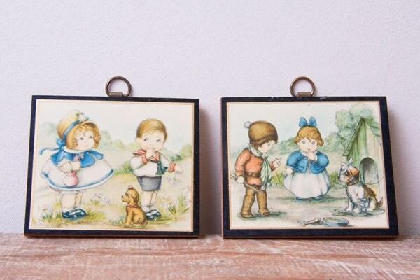 Vintage Wall Decor For Nursery : Vintage nursery decor miniature wall art hangings by