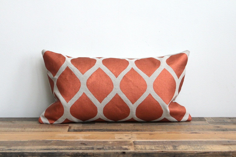 Aya lumbar pillow cover hand printed in metallic copper on greige organic hemp 12x21 - melongings
