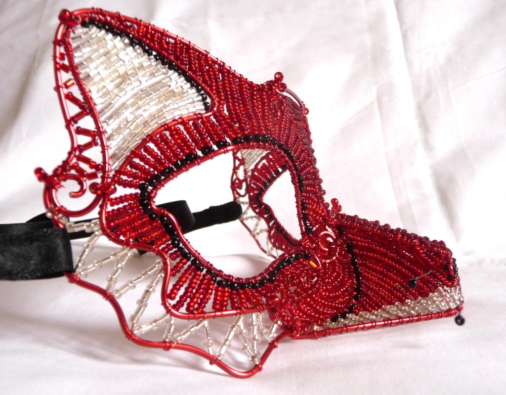 Red fox masquerade mask, womens, costume, accessories,handmade